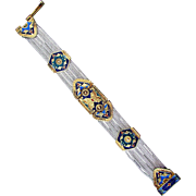 Turkish Sterling Silver Ornately Enameled Bracelet