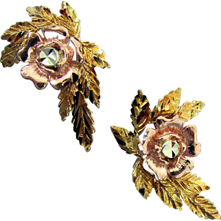 14K Triple Casting Yellow, Pink & White Gold Floral Earrings
