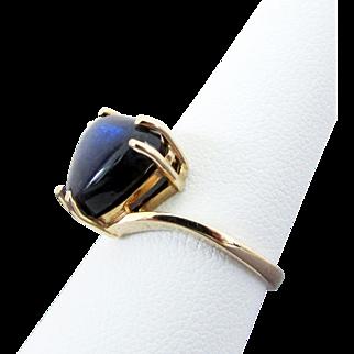 10K YG Blue Sheen Labradorite Ring Size 6 1/4.
