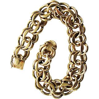 "45.7 Grams, 14K Gold Double Link Bracelet 7 1/2"" Closed"