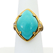 18K YG Marquis Shaped Persian Turquoise Cabochon Ring with Diamond Accents, Size 6 - Snug 6 1/2