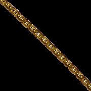 18K Flat Mariner / Anchor Link Anklet, 9 1/2 Inches