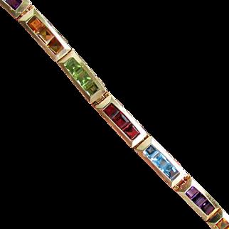 12.9 Grams, 14K YG Multi Gem Bracelet