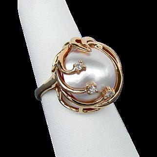 14K YG Large Mabe Pearl Ring Size 5