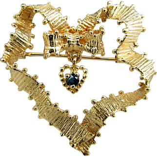14K YG Ribbon Heart Pin with Dangling Sapphire Heart Pendant
