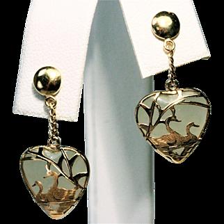 14K YG Jadeite Heart Earrings with 14K Swimming  Swans Overlay