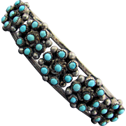 Sterling Silver Zuni Turquoise Petit Point Cuff Bracelet