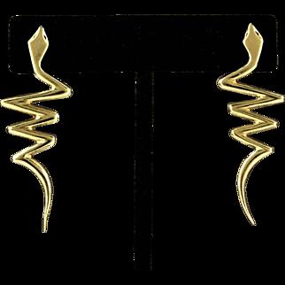 14K YG Snake Earrings, 2 Inches Long, 5.5 Grams