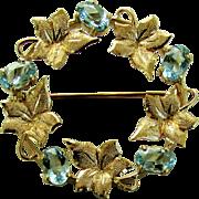 14K YG Aquamarine Wreath Pin by Harry S. Bick