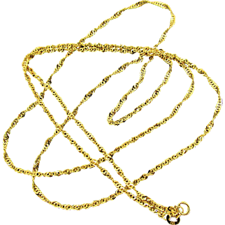 14K YG Italian Singapore Chain Necklace 32 Inches