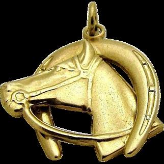 14K Lucky Horse & Horseshoe Charm 1930's - 1940's