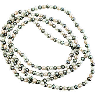 """1970's Natural Color Cultured Pearl Necklace 36"""""""
