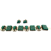 Taxco Mexico Green Onyx Set in Sterling Silver