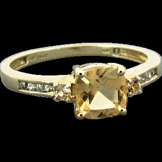 10K YG Natural Imperial Topaz Ring Size 8