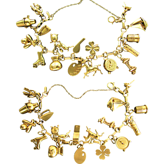 31 Grams, 1950's 14K Charm Bracelet from Estate of Actress, Susan Cummings