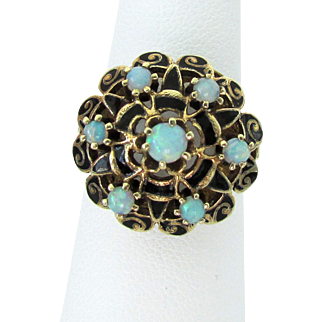 14k YG Opal and Black Enamel Filigree Princess Style Ring Size 6 3/4