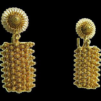 12 Grams, 18K YG Cannetille Dangle Earrings