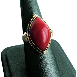 18K YG Oxblood Red Coral Ring Size 7