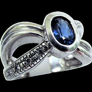 9.5 Grams, 14K WG Blue Sapphire Ring Size 7