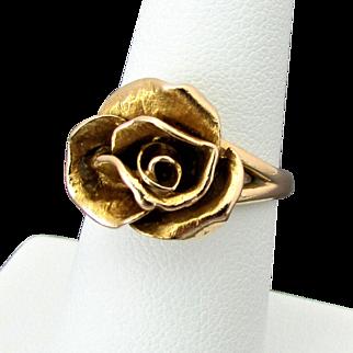 14K YG Rose Ring Circa 1968, Size 6 1/4