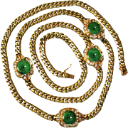 78.4 Grams, 14K YG Natural Jadeite Medallion Necklace 31 Inches