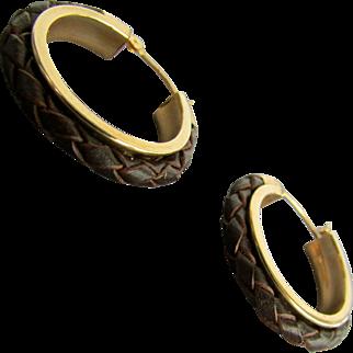 14K YG Brown Woven Leather  Hoop Earrings