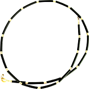 18K YG Rubber Tube & Gold Bead Cord Necklace 16""