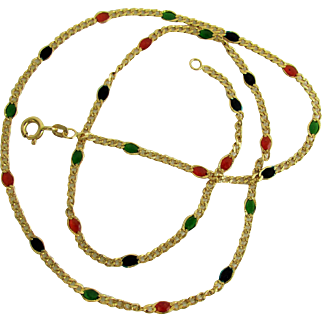 """14K Curb Link Necklace with Enamel """"Gemstone"""" Stations, 20 Inches Long and Made in Italy"""