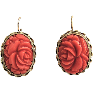 Hand Carved Salmon Coral Rose Earrings Set in 14K YG