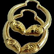 18K YG Rams Head Hoop Earrings
