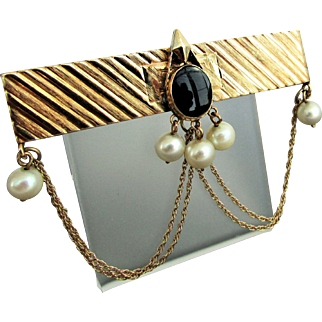 14K YG Pin with Black Onyx & White Cultured Pearls.
