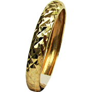 14K YG Faceted Texture Band Ring Size 7