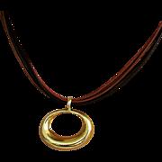 14K 6-Cord Leather Necklace with 14K Slide Pendant by JACMEL