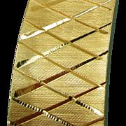 21 Grams, 14K YG Hinged Bangle with Lattice Design