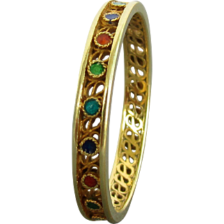 14K YG Enamel Dot Band Ring Size 8
