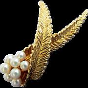 18K YG Mikimoto Cultured Pearl Pin