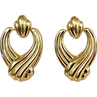 14K YG Door Knocker Earrings