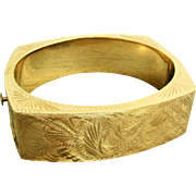 36.7 Grams, 14K YG Etched Floral Design Hinged Bangle
