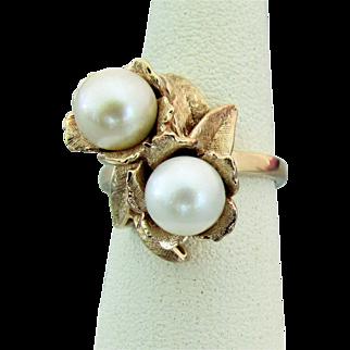 14K YG Akoya Pearl Ring, Size 5 3/4, 1950's - 1960's