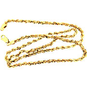 """11.9 Grams, 14K YG Rope Chain Necklace, 18"""""""