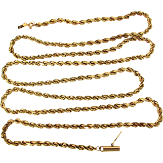 """24 Grams, 14K YG Rope Chain Necklace 30 1/2"""""""