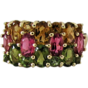 14K YG Multi Color Tourmaline Ring Size 6