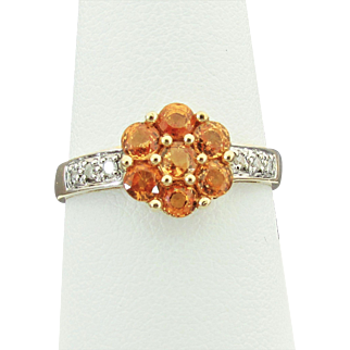 14K YG Citrine and Diamond Ring Size 8