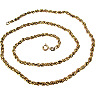 """14K YG Italian Rope Chain Necklace, 19"""""""