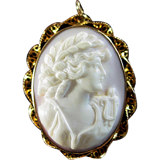 Pink Queen Conch Shell Carved Cameo / Muse with Lyre