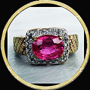 9K YG  Madagascar Ruby and Diamond Ring, Size 6 1/4