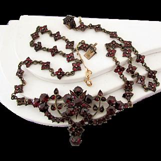 "Bohemian Garnet Necklace 19"", Early 20th Century"