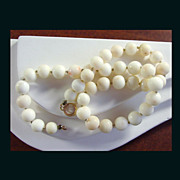 14K Yellow Gold Natural White Coral Bead Necklace