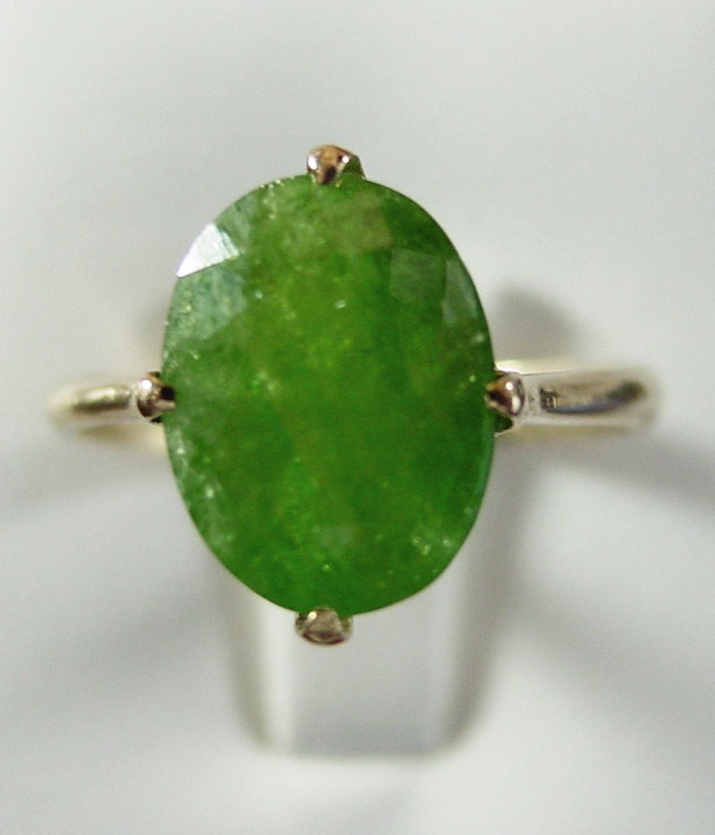 14K YG Demantoid Garnet Ring, Size 6 3/4