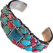 Sterling Silver Southwestern Cuff Bracelet with Turquoise & Red Spiny Oyster